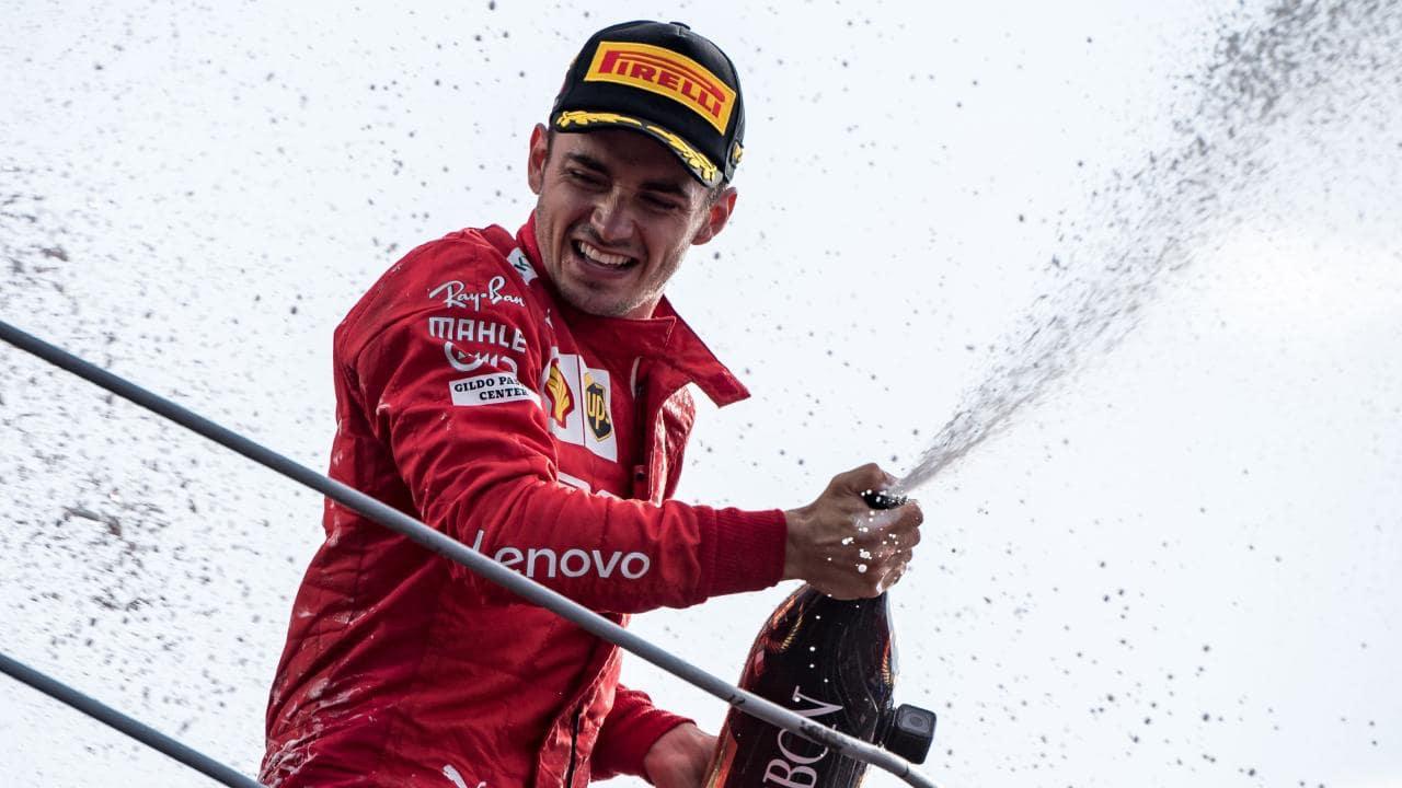 Leclerc festeggia a Monza
