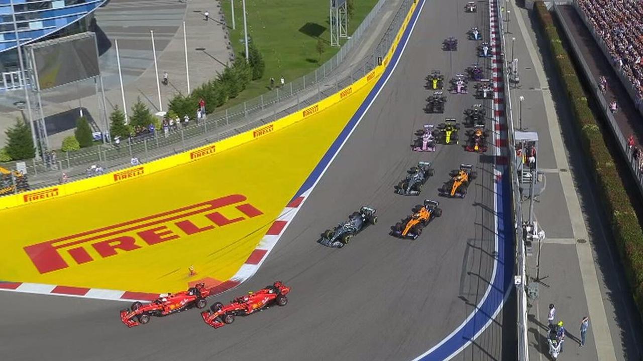 Il sorpasso di Vettel su Leclerc, Sochi