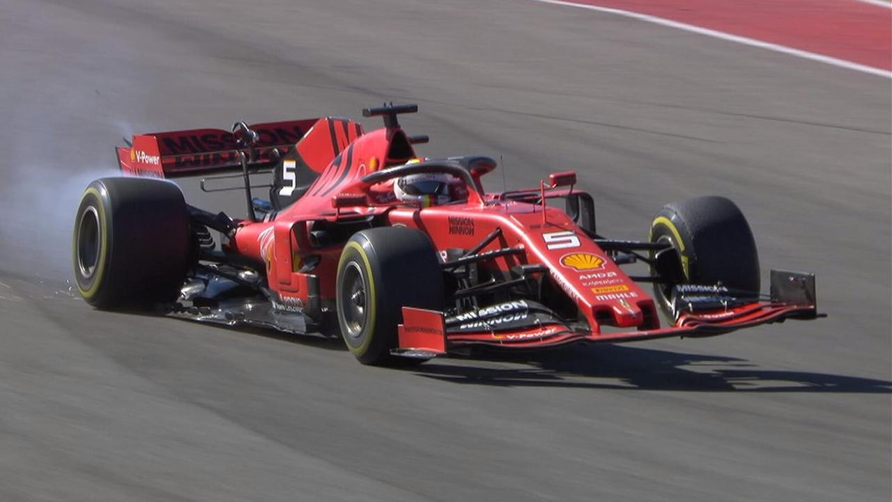 Vettel nel momento del guasto alla sospensione