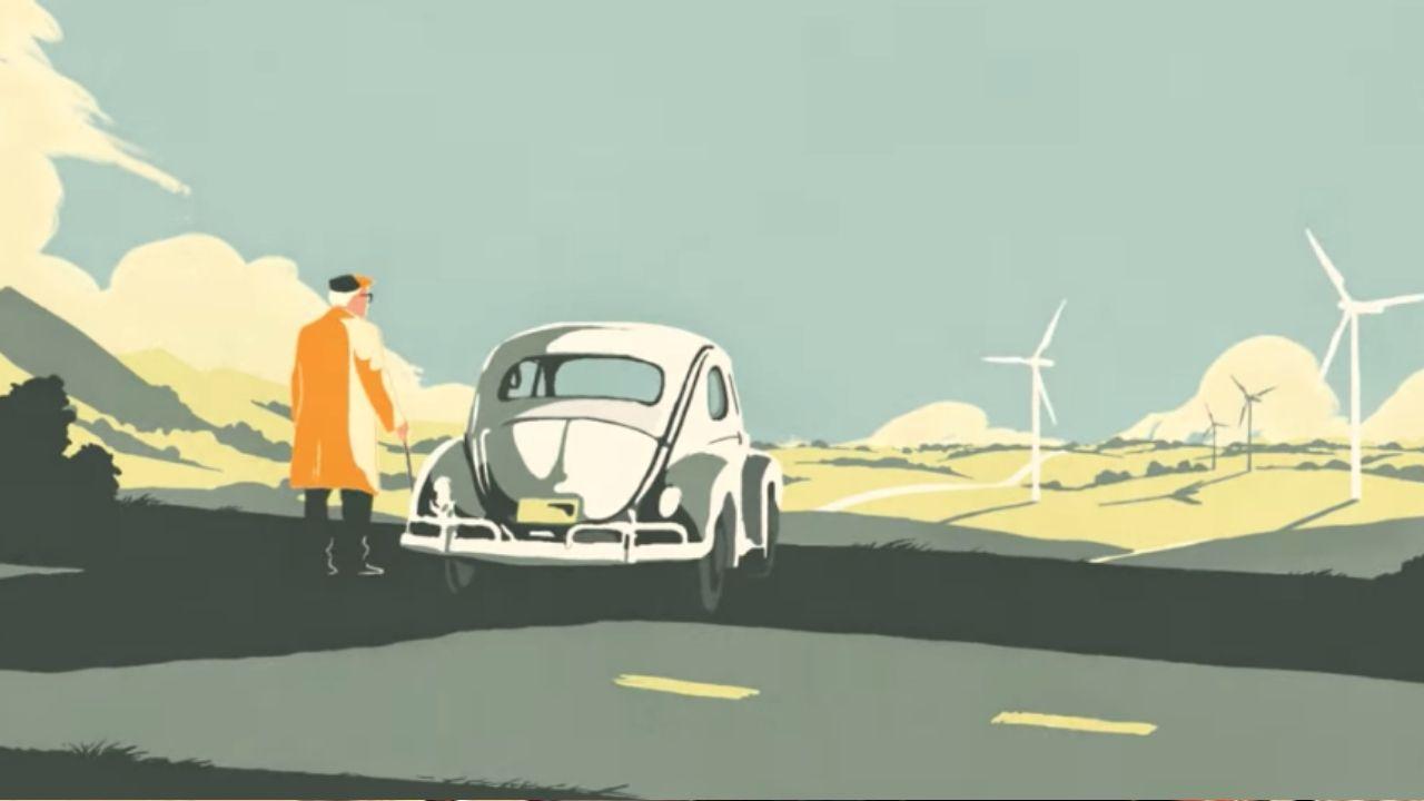 fotogramma del cortometraggio dedicato al maggiolino
